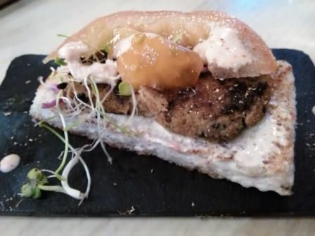 'Xardín de outono', en 'O Celme do Caracol'. Su tapa el concurso gastronómico Santiago(é)Tapas