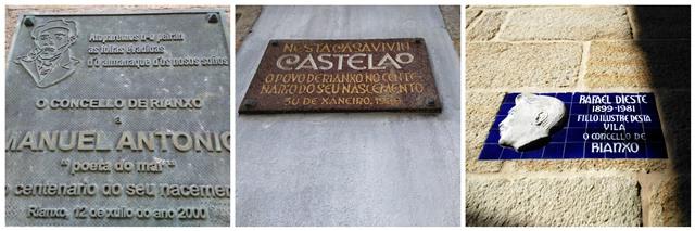 Letreros de las casas de Manuel Antonio, Castelao y Rafael Dieste en Rianxo
