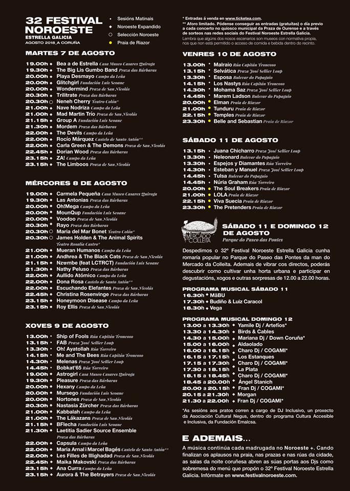 Cartel por días del Festival Noroeste Estrella Galicia 2018